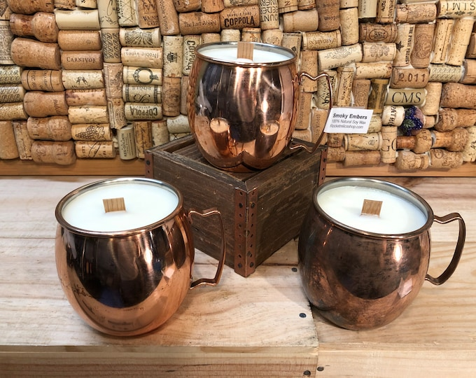 FREE SHIPPING! Copper Mug With A Wood Wick Soy Candle in Smoky Embers Scent