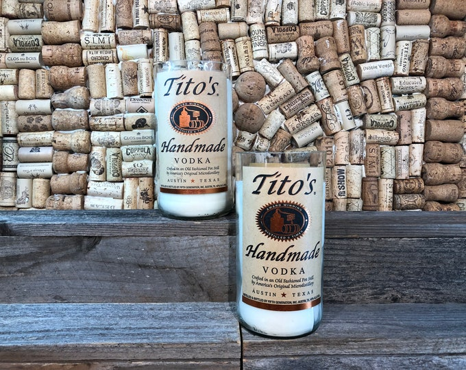FREE SHIPPING! Soy candle in a Recycled Tito's Vodka Bottle, choose your scent