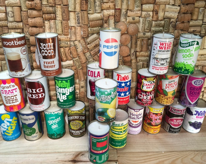 FREE SHIPPING! Bulk order of 24 Vintage Soda Pop Can Soy Candles