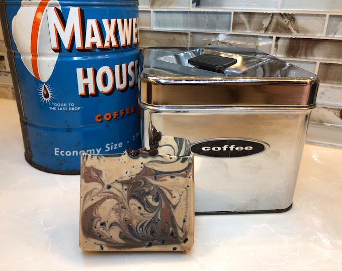 Two Bars of Coffee Swirl Exfoliating Soap, Handmade, Vegan Cold Process