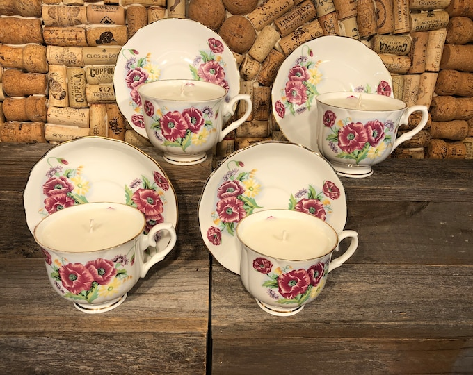 Vintage purple floral tea cup filled with a soy candle, Champagne Cocktail scent. SHIPS FREE!
