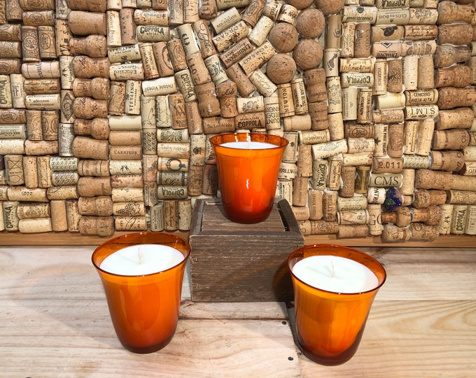 SHIPS FREE!  Bright orange vintage glass filled with our Girl Gang scented soy candle