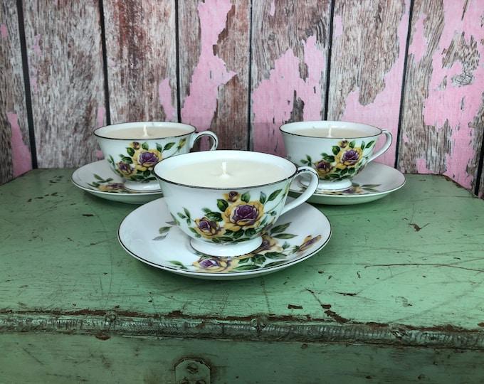 Vintage Floral tea cup filled Vegabond Rose scent. SHIPS FREE!