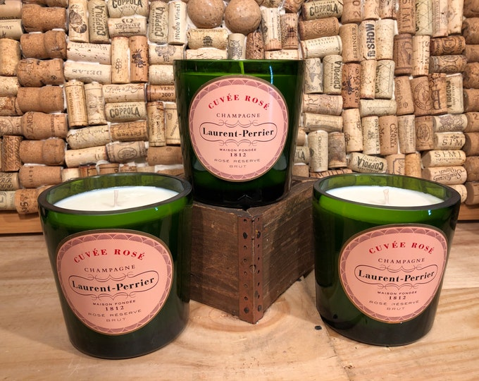 Laurent Perrier Rośe bottle filled with a Champagne Cocktail scented candle