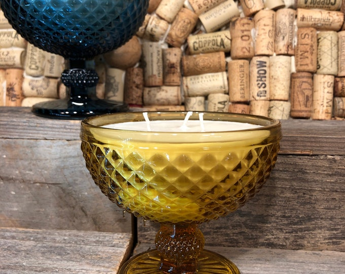Vintage Indiana Yellow Diamond Point glass candy dish filled with a soy candle, Bohemian Queen scent. SHIPS FREE!