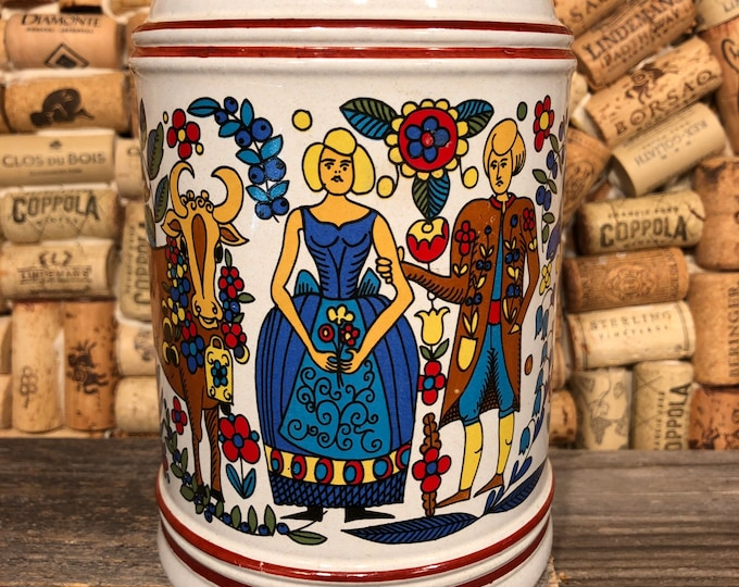 Vintage Dutch XL Beer Stein filled with a soy candle, Bohemian Queen scent. SHIPS FREE!