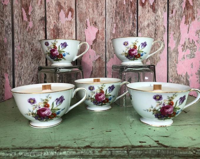 Vegabond Rose scented Wood Wick candle in a vintage floral teacup