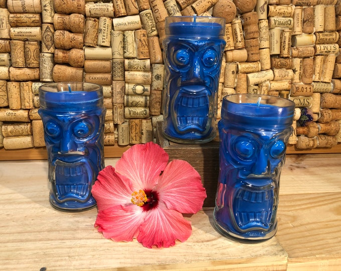 FREE SHIPPING! Large Tropical Glass Candle, Tiki Time Scent