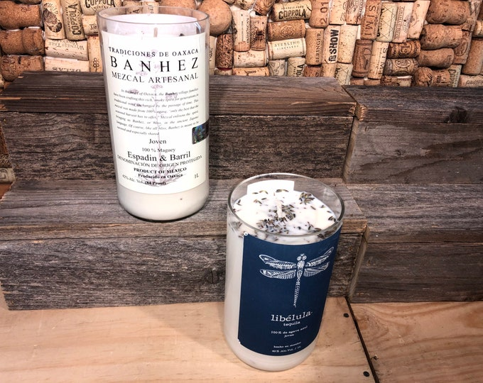 FREE SHIPPING! Soy candle in a Recycled Mezcal Bottle, Lavender Eucalyptus scent