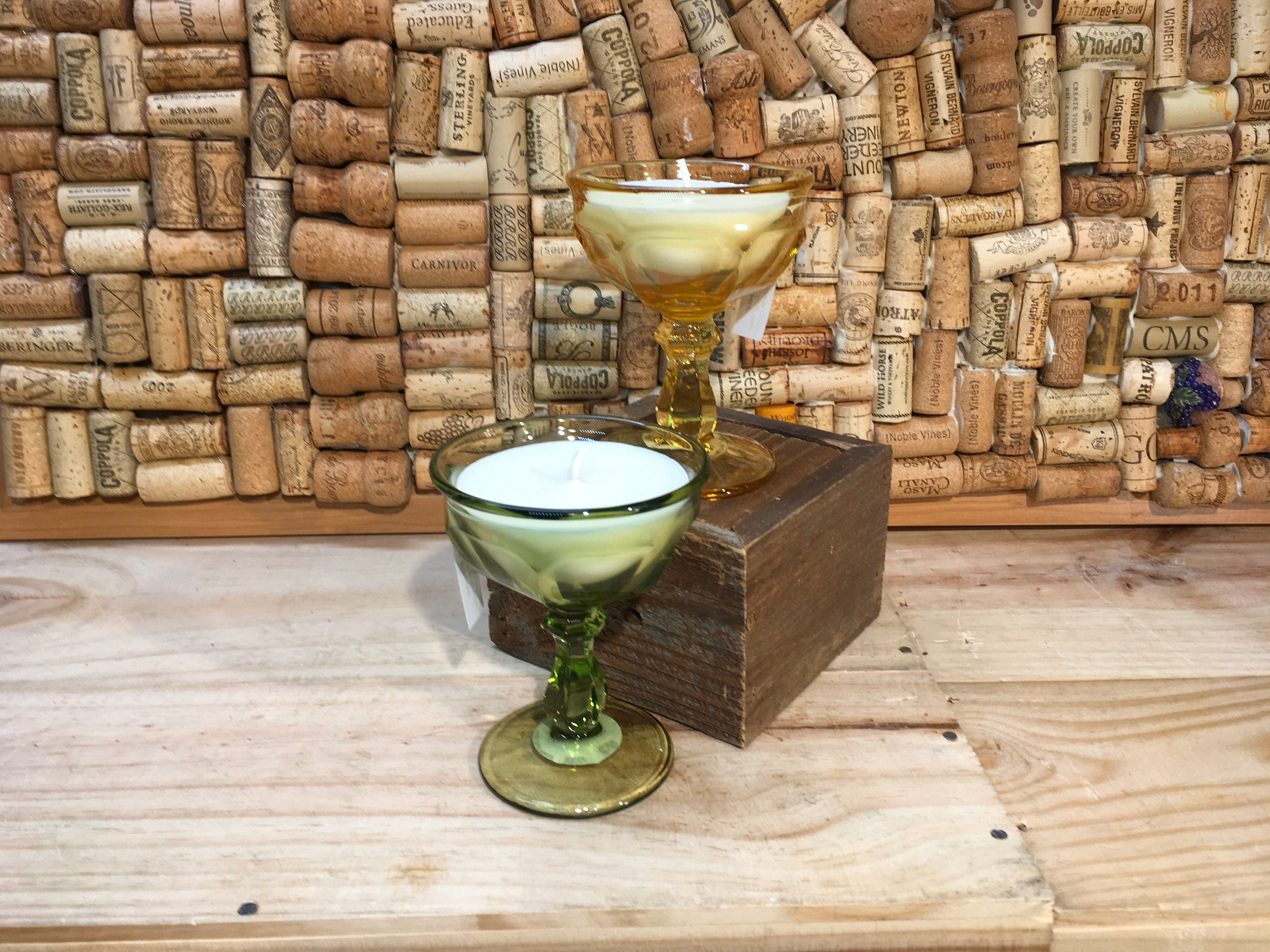 Free Shipping Pair Of Vintage Champagne Coupe Glasses With A Forest Floor Soy Candle
