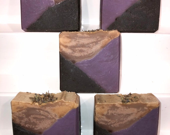 Two Bars of Lavender Charcoal  Soap, Vegan Cold Process Soap, Free Shipping