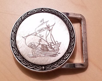 ad42d7f64bed Vintage 70s Simmons signed Sterling Etched Sailing Ship Belt Buckle Galleon  Ship Belt Buckle FREE Shipping