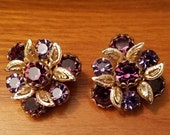Vintage 50s Weiss signed Lavender and Deep Purple Rhinestone Clip Earrings FREE Shipping
