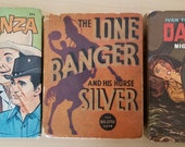 3 Piece Lot Vintage 30s, 60s Big Little Books Lone Ranger Bonanza Daktari