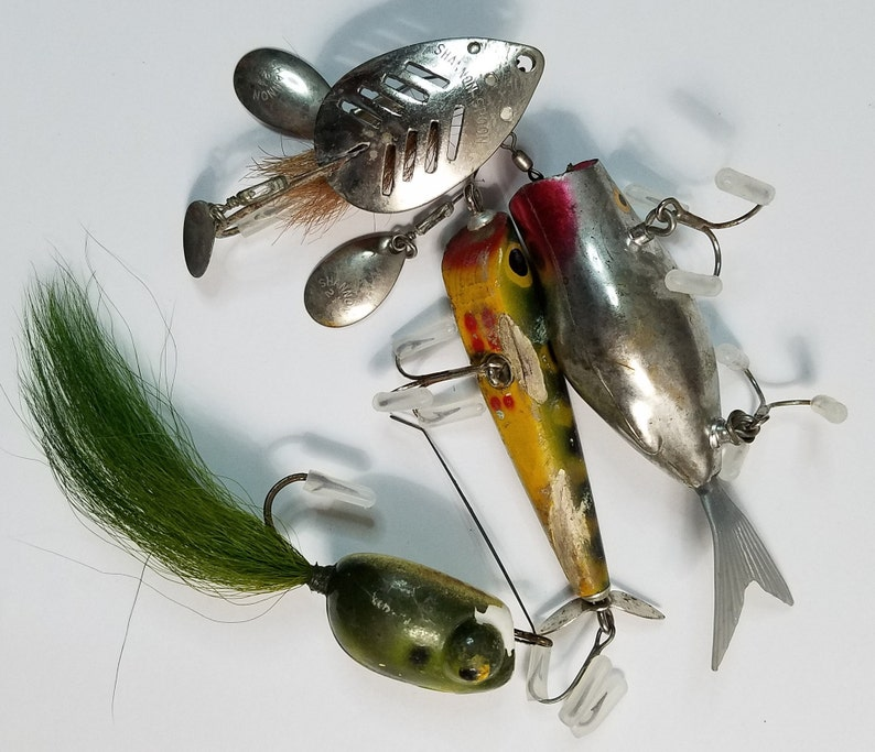 Vintage Fishing Lures LOT Frog Lure Plastic Lure Wooden Lure Shannon Multi Spinner Spoon FREE Shipping