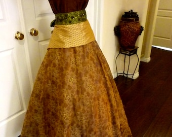 Beautiful Full Length Organza Skirt -Metallic thread Accents-Elegant and contemporary yet perfect for Civil War theatrical reenactment