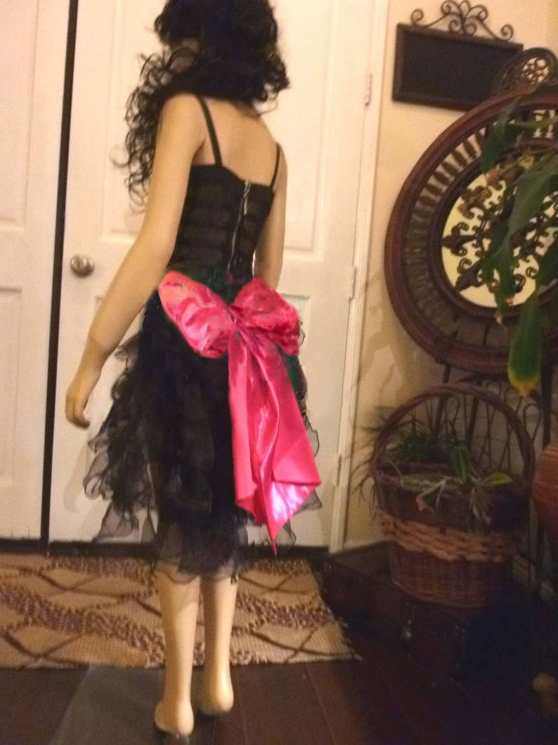 Pretty Pink and Black Pageant Dance Recital Costume with bustle and Bow Back