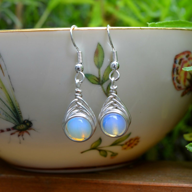 Moonstone 8mm Wire Wrapped Drop Earrings image 0