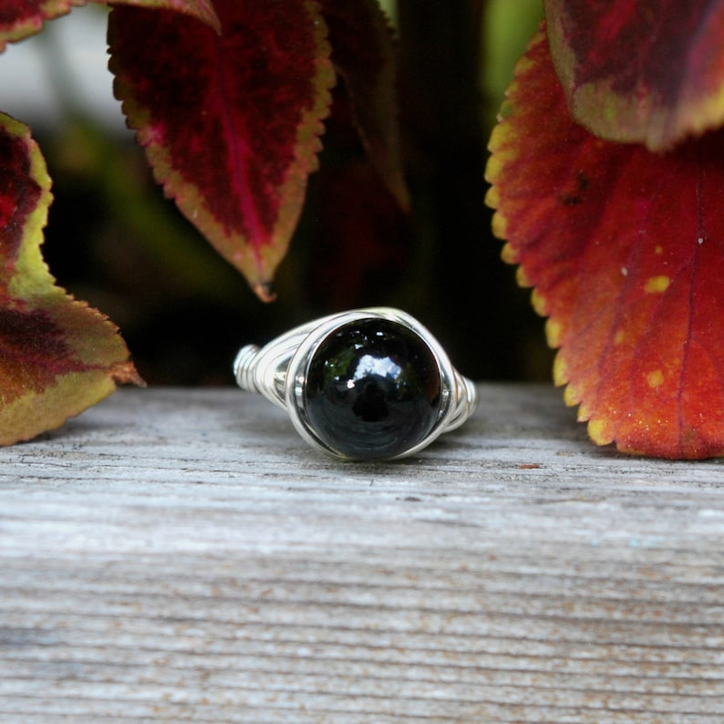 Black Onyx 10mm Wire Wrapped Ring image 0