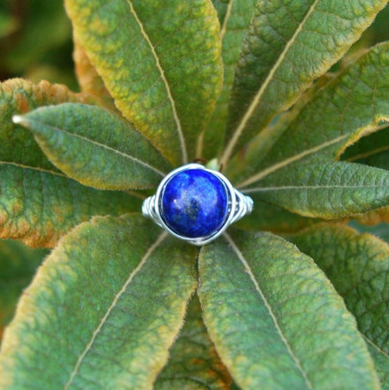 Lapis Lazuli 10mm Wire Wrapped Ring image 0