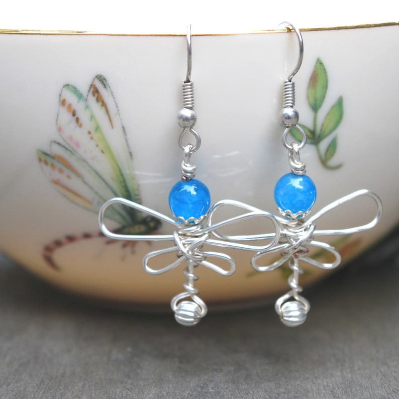Blue Wire Wrapped Dragonfly Earrings image 0