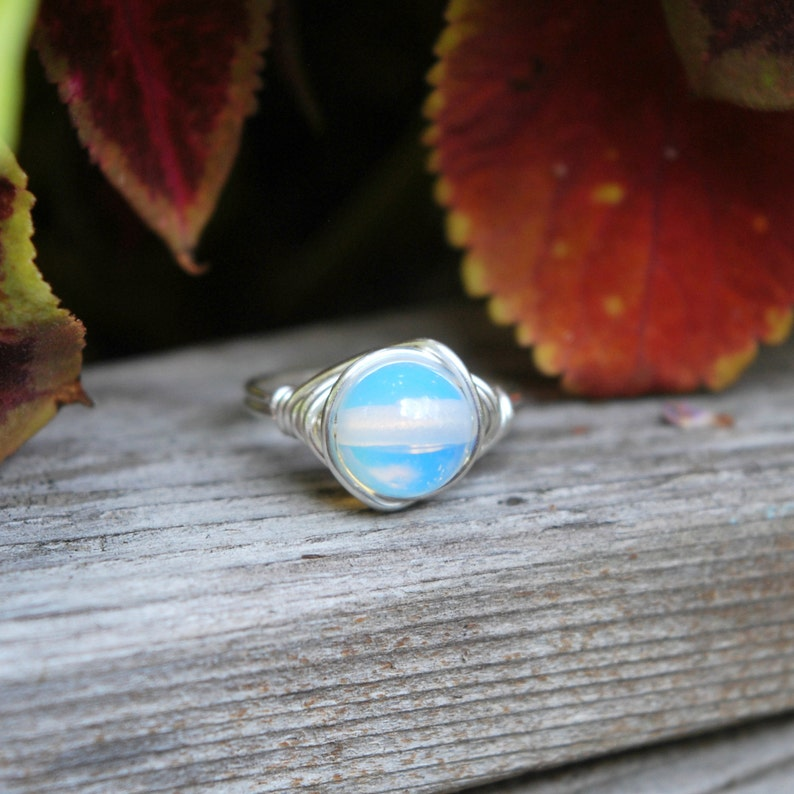Moonstone 8mm Wire Wrapped Ring image 0