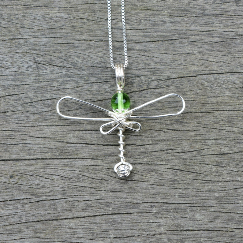 Green Dragonfly Wire Wrapped Pendant image 0