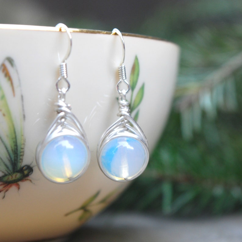 Moonstone 10mm Wire Wrapped Drop Earrings image 0