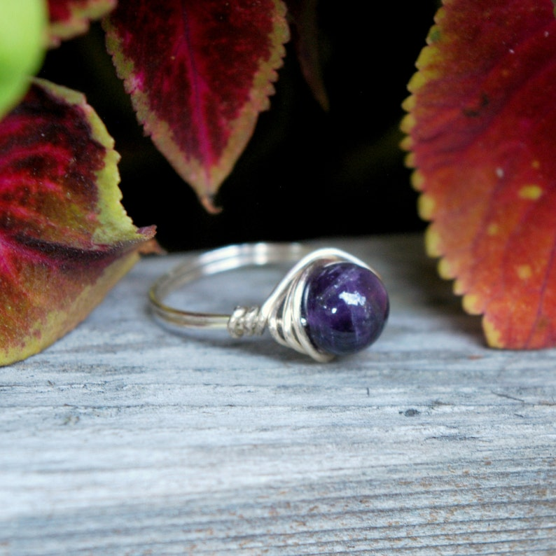 Amethyst 8mm Wire Wrapped Ring image 0