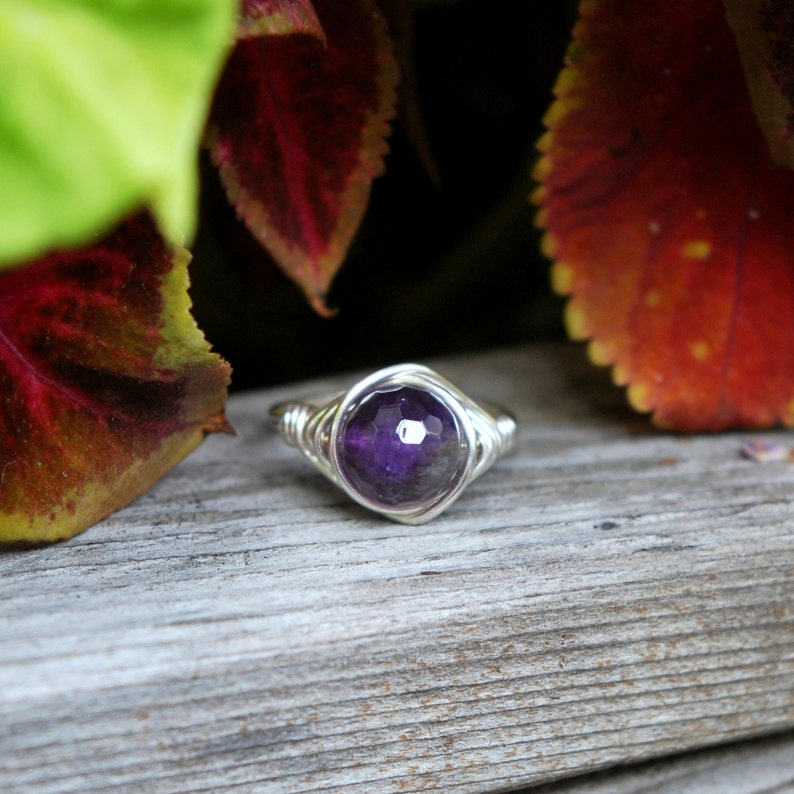 Faceted Amethyst Wire Wrapped Ring image 0