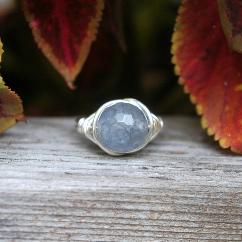 Grey Quartz 10mm Wire Wrapped Ring image 0