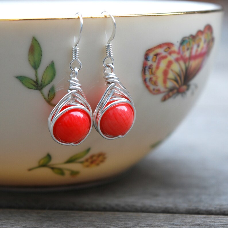 Coral Wire Wrapped Drop Earrings image 0