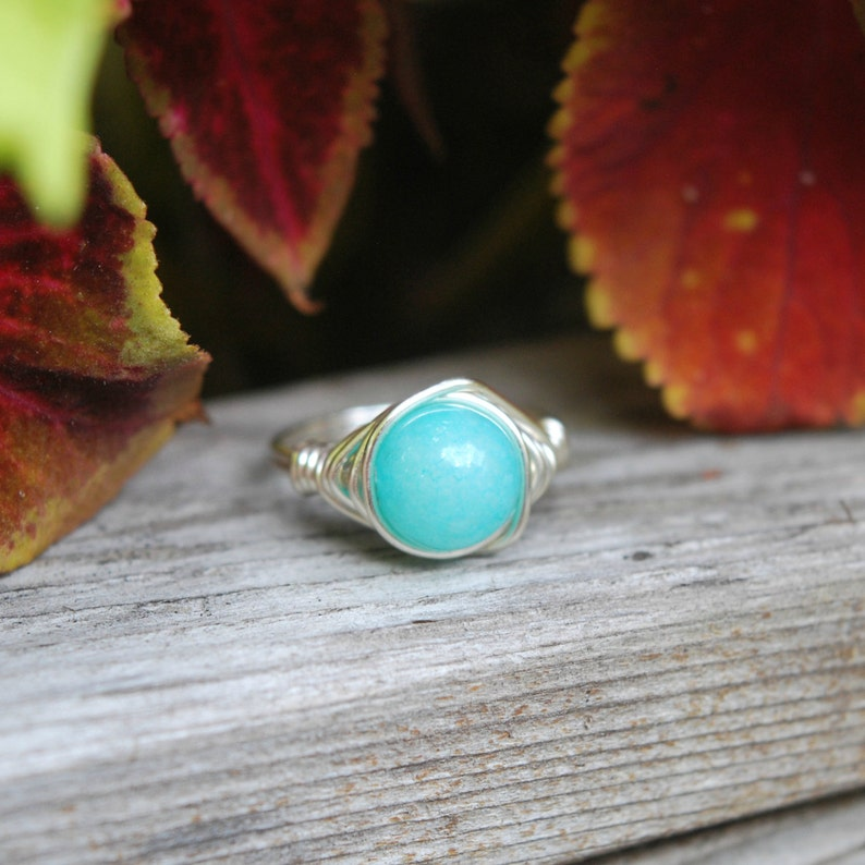 Amazonite 8mm Wire Wrapped Ring image 0