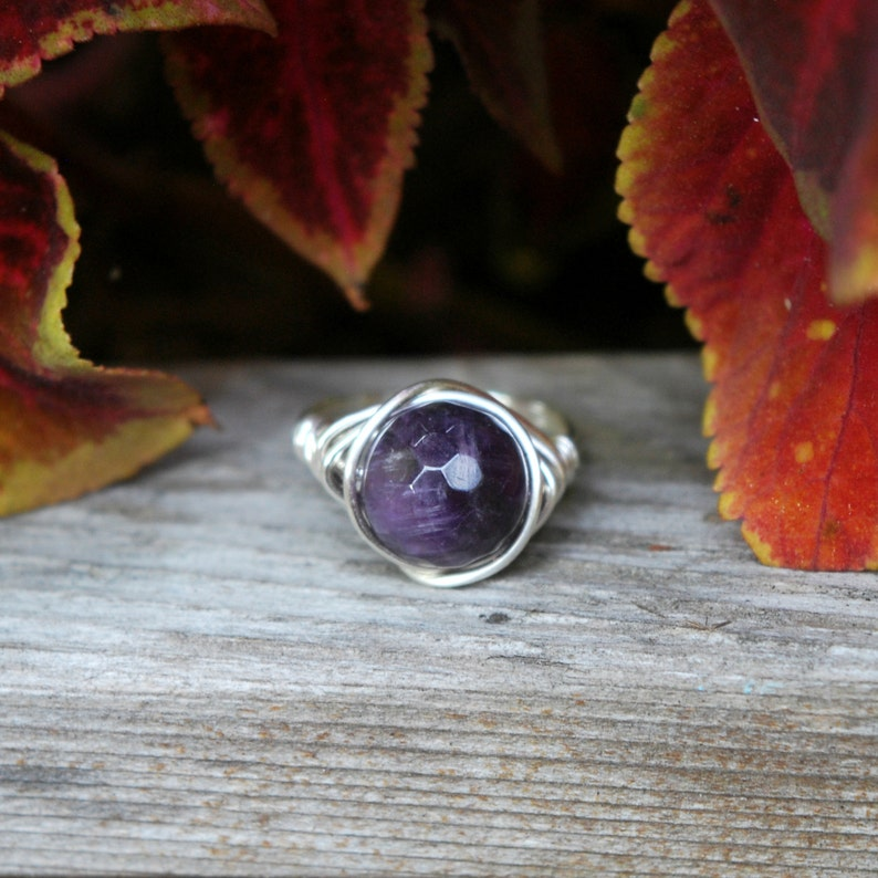 Faceted Amethyst 10mm Wire Wrapped Ring image 0