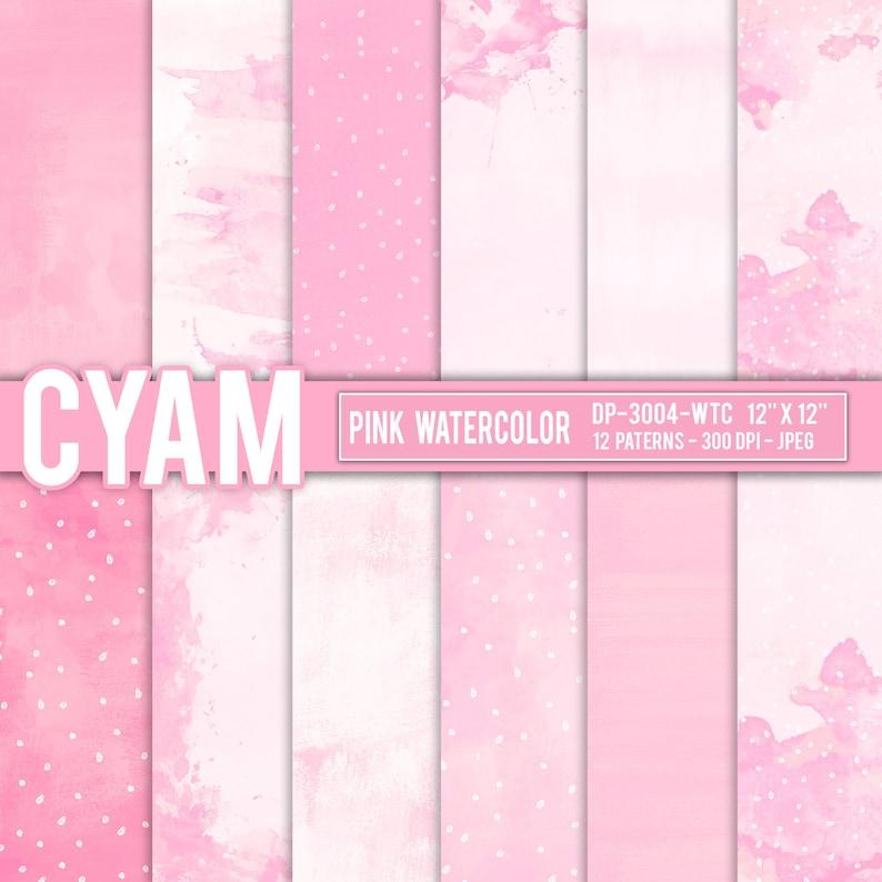 Cute Pink Watercolor Paint Splatter Digital Papers Instant Etsy