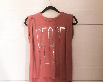 Peace Mauve Muscle Tee with Rolled Cuff