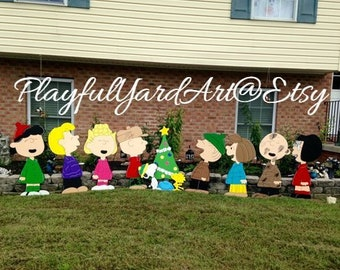peanuts christmas yard art11 piece set