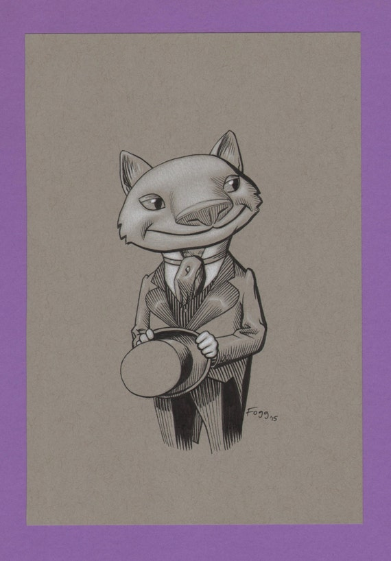 Dapper, portrait d\u0027un beau jeune chat tête gent habillé pour une nuit sur  la ville, dans le Autumnlands