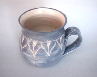 Handmade coffee mug grey on white stoneware