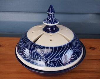 Mosquito Coil Burner  Mozzie coil holder Mosquito coil holder royal blue swirl pattern outdoor garden decor stoneware