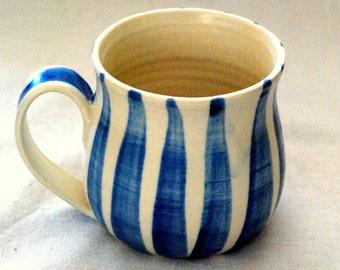 Mug Handmade and decorated coffee mug blue stripes on white stoneware clay