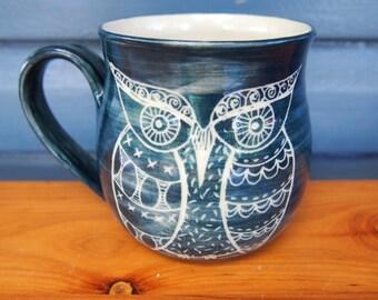 unique coffee mug, Handmade ceramic coffee mug, owl mug, blue grey owl stoneware, patchwork owl coffee mug, patterned owls, stoneware mug