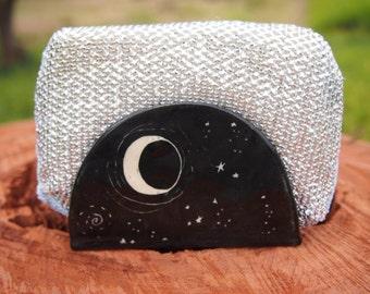Sponge holder napkin holder kitchen sponge holder black starry night design kitchen sponge holder, business card holder