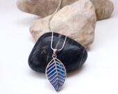 Silver Leaf Pendant - Vintage Necklace - Blue Opalescent Glass- Drop Pendant