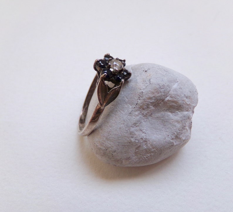 Black Silver Ring Cubic Zirconia Dainty Ring Vintage Jewellery