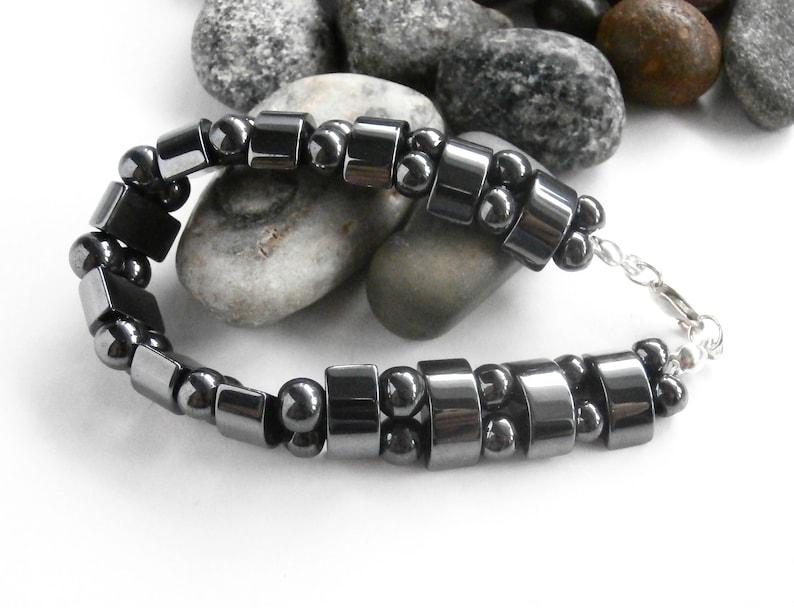Repurposed Jewelry Hematite Bracelet Sterling Silver Health Bracelet