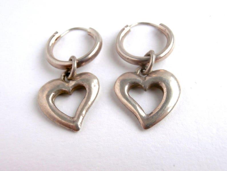 Vintage Jewellery Heart Dangle Earrings Silver Heart Earrings Hoop Earrings