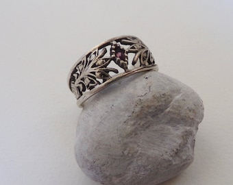 Purple Stone Ring - Vintage Silver Ring - Filigree Ring - 1970s Jewellery