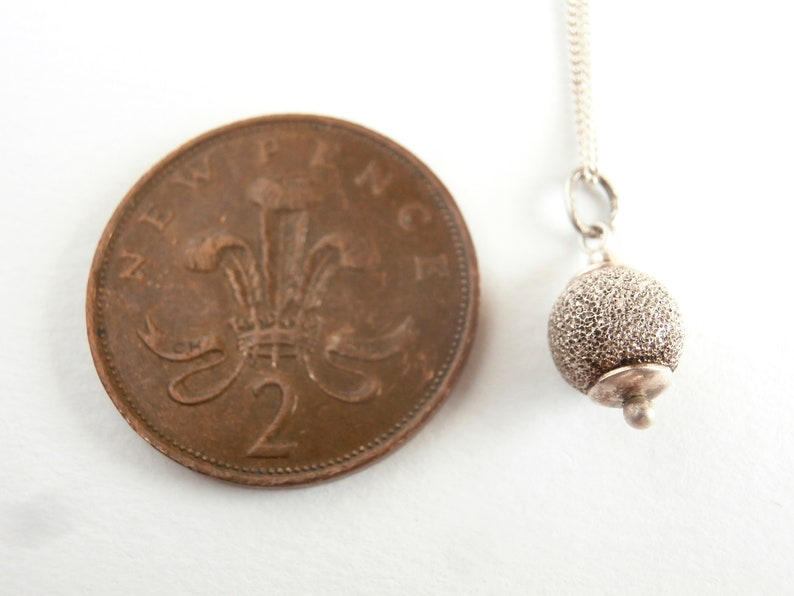 Ball Pendant Necklace Repurposed Jewelry Sparkly Pendant Sterling Silver