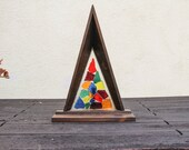 Vintage Mid Century Handmade Wooden Large Night Light Craftsman Style Catheral Church Style